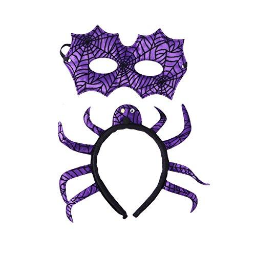Amosfun Teufel Horn Spinne Haar Zubehör Stirnband Kostüm Zubehör Maske Kopfschmuck Halloween Mardi Gras Maskerade Partei liefert Halloween Kostüme (Lila Spinne Stirnband + Maske)