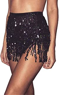 Moda para Mujer Vendaje Lentejuelas Danza del Vientre Traje Borla Falda Club Mini Falda