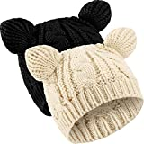 2 Pieces Cat Ear Beanie Hats Cute Cat Knitted Hat Winter Knit Cable Hat for Women Girls (Black, Beige)