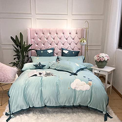 juegos de sábanas de 90 de oferta,Juego de cuatro piezas de la cama de seda nórdica, princesa linda cómoda reversión transpirable anti-desvanecimiento hojas de la chaqueta de la almohada regalo-GRAMO