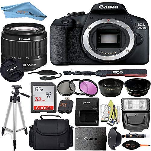 Canon EOS T7/2000D DSLR Camera with 18-55mm f/3.5-5.6 III + Professional Accessory ZeeTech Bundle (Professional Bundle + 32GB)
