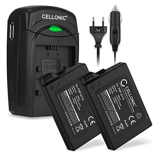 CELLONIC 2X Qualitäts Akku kompatibel mit Sony PSP Brite (3000/3004) / PSP Slim & Lite (2000/2004), PSP-S110 1200mAh + Ladegerät Ersatzakku Batterie