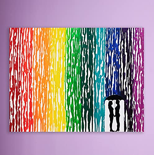 LGBTQ Pride Art, Lesbian Wedding Gift, Melted Crayon Art, Lesbian Gifts, Rain Painting, Rainbow Decor, Handmade Art 16x20'