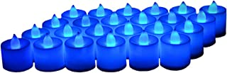24 Pack LED Tea lights Candles – Flickering Flameless Tealight Candle – Battery Operated Electronic Fake Candles – Decoration for Wedding, Party, Dating and Festival Celebration (Blue)