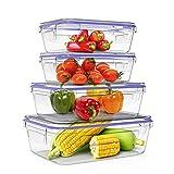Home Fleek - Envases de Vidrio Rectangular para Alimentos | Herméticos | Sin BPA (Azul, Set 4)