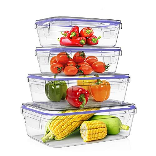 Home Fleek - Boite Alimentaire en Verre Rectangulaire | Hermétique | sans BPA (Lot de 4, Bleu)