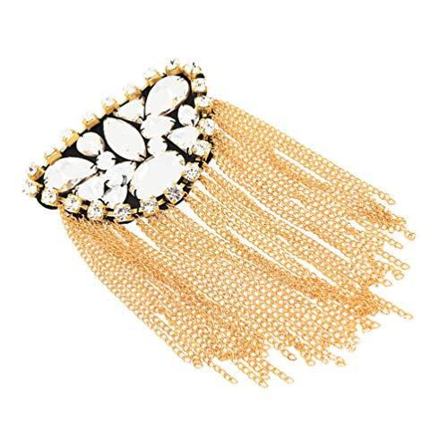 Amosfun Collar de perlas para el hombro con borla dorada para el...