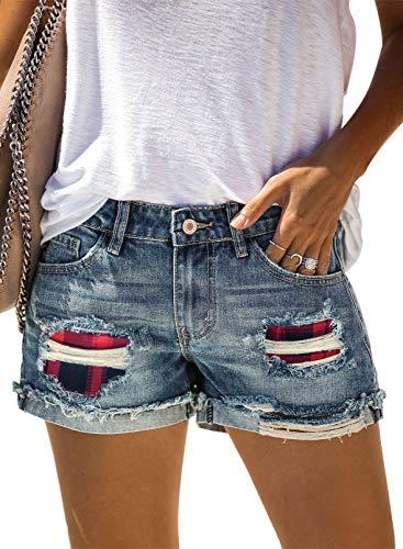 Eytino Pantalones cortos de mezclilla para mujer, estilo casual, cintura media, deshilachada, dobladillo crudo rasgado, pantalones vaqueros cortos - rojo - S