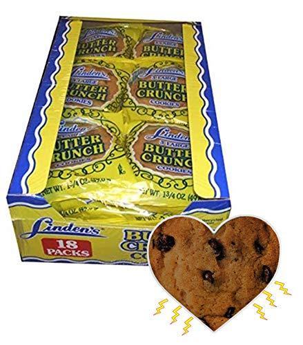 Linden's Butter Crunch Cookies- 3 Cookies Per Pack- 18 Packs - With Exclusive InPrimeTime Cookie Heart Magnet
