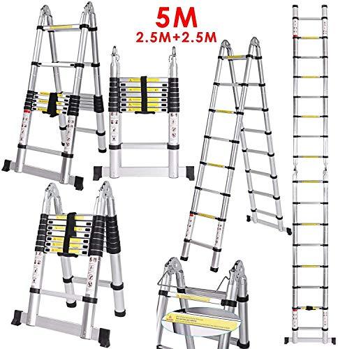 Lichire 5M Teleskopleiter Leiter Stehleiter 16 Sprossen, Mehrzweckleiter Rutschfester Klappleiter(2,5 + 2,5M), 150kg Belastbarkeit