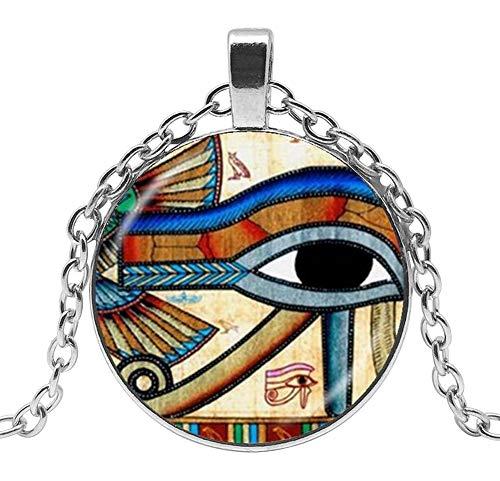 Collar con colgante de ojo de Horus Dios Egipto, cadena de 55 cm y colgante de 2,7 cm de diámetro.