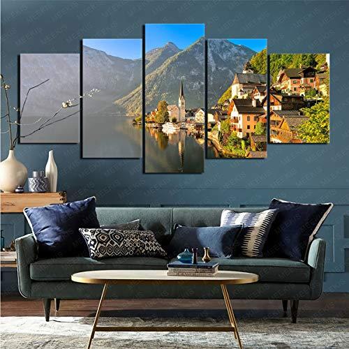 mmkow Imprimir imágenes enmarcadas 5 Piezas de Hallstatt Hechas por el Hombre, Fotos, página de Inicio, Artista, Pintor Aficionado, 50x100 cm (Marco)