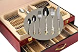 Venezia Collection Gold Flatware Serving Set for 12, 75-Pc Luxury Dining Silverware Cutlery Service,...