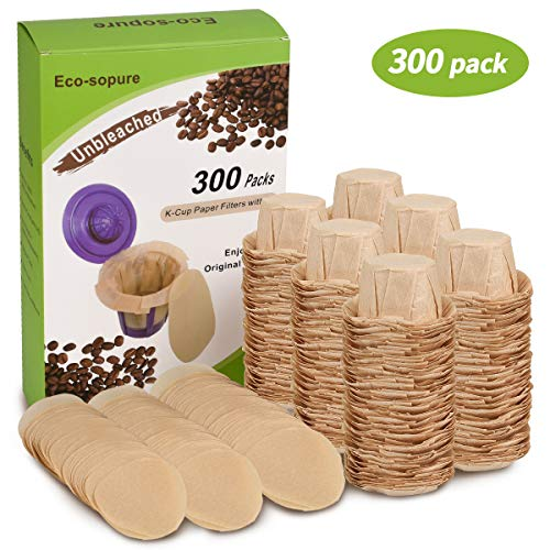 Eco-Sopure Unbleached K cup Coffee Paper Filters with Lid Disposable for Keurig Reusable K Cup Filters, Disposable Keurig Filters Unbleached, Fits All Keurig Single Serve Filter Brands (300 pack)