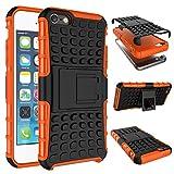 Qiaogle Teléfono Case - Shock Proof TPU + PC Hibrida Stents Carcasa Cover para Apple iPhone 5 / 5G / 5S / 5SE (4.0 Pulgadas) - HH08 / Naranja