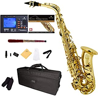 Mendini by Cecilio E-Flat Alto Saxophone, Gold Lacquered + Tuner, Case, Pocketbook..