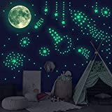 Glow in The Dark Stars and Moon Wall Stickers-Glowing Stars for Ceiling and Wall Decals 166 Piece Luminous Adhesives Perfect for Kids Room, Bedroom, Great Explorations Constellation Map