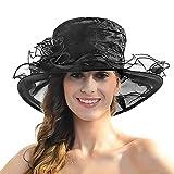 Women's Sheer Wide Brim Sun Party Church Wedding Floral Organza Hat(Black)