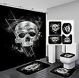 Halloween Totenkopf Duschvorhang, 3D Scary Skull Totenkopf Muster rutschfeste Badematte, für Badvorhang Badezimmer Home Decor (K, 180 x 180 cm)