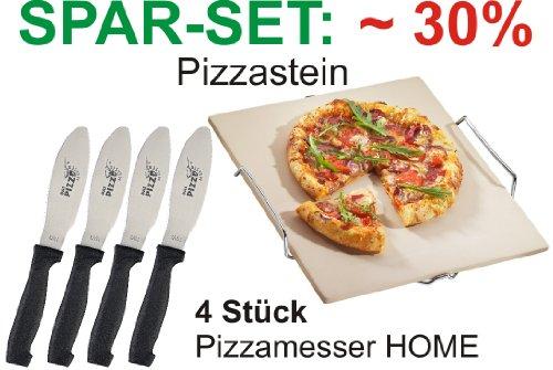 Ein Pizzastein und 4 Stück Pizzamesser HOME im Sparset