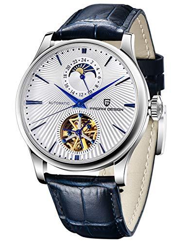 Reloj de pulsera analógico para hombre, diseño Pagani de 41 mm, mecánico, automático, analógico, cristal de zafiro, resistente al agua y a los arañazos, correa de piel resistente a los arañazos