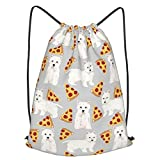 Pizza Food Westie West Highland Terrier Dog Printed Drawstring Bundle Book School Shopping Travel Back Bags Draw String Gym Backpack Bulk Girl Boy Women Men