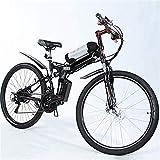 Bicicleta De Montaña Eléctrica Ebikes Ligero Plegable 48v 250w Motor Hombre Mujer E-Bike Pedal Assist Pedales De Batería Litio Bicicletas 26 Pulgadas Fat Tire Snow Y con Frenos Disco Y Horquilla
