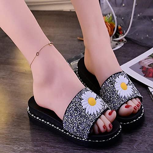 Zapatillas De Casa Mujer Abiertas,El Verano Femenino Lleva Zapatillas, Moda Fondo Grueso Nuevo Brillante Diamond Esponja Zapatos De Mujer, Grueso Sin Fondo De Patada De Patada-Ue 36 (230mm / 9.05 ')_
