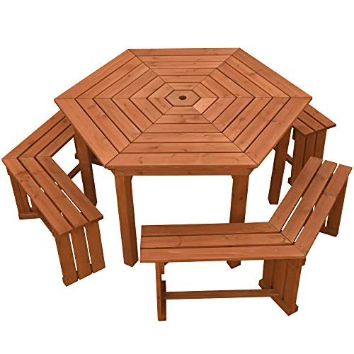 Liebe【リーベ】 六角ガーデンテーブルセット 木製