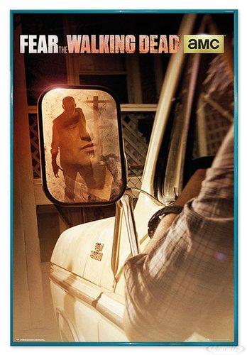 Close Up Fear The Walking Dead Poster Zombie im Rückspiegel (94x63,5 cm) gerahmt in: Rahmen türkis