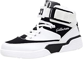 Lailailaily Men's Fashion Breathable High-Top Sneakers Slip Wear-Resistant Basketball Shoes