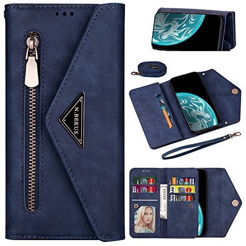 Capa carteira XYX para Samsung S10, Galaxy S10 com compartimento para cartão de crédito, alça transversal, alça de couro com zíper para Samsung S10 - Azul