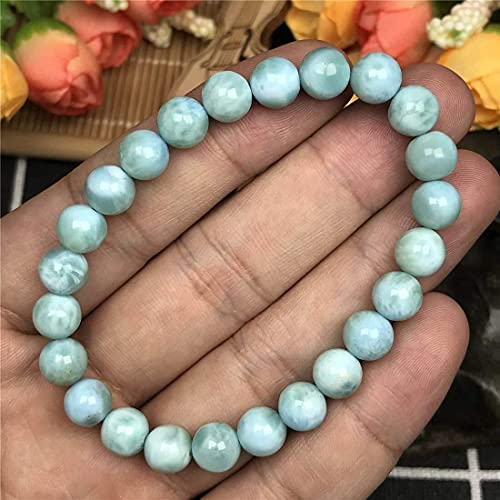 YANSJD Pulseras elásticas de Cristal Azul Natural Xuyang La Lima para Mujer, Hombre, joyería de Cuentas de Piedra AAA AA