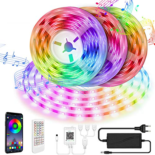 LED Strip 15M LED Streifen Smart APP Steuerung und Fernbedienung 5050 RGB mit Bluetooth Kontroller Sync zur Musik LED Lichterkette für Zuhause, TV, Festival, Bar, Party Dekoration [Energieklasse A+]