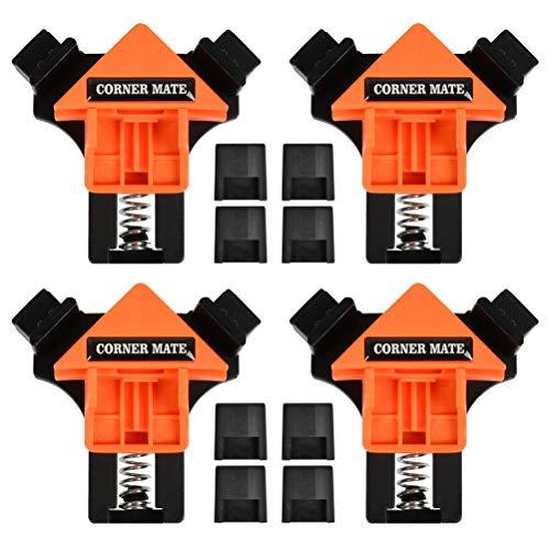 CJMM 4-teiliges Set 90° rechtwinklige Eckklammer Fixer Lineal Klemme Holzrahmen Holzbearbeitung für Schränke oder Schubladen Schreiner(4 Stück)