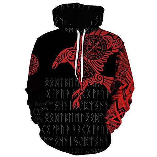 YANGFJcor Sudadera con capucha de águilas con tatuaje con estampado 3D de vikingos para hombre, sudadera informal holgada de gran tamaño de algodón pesado para mujer,Rojo,XXXL