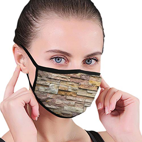 Comfortable Windproof mask,Urban Brick Slate Stone Wall with Rocks Featured Facade Architecture Town Picture,Printed Facial Decorations for Adult