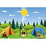 CSFOTO 6x4ft Cartoon Camp Backdrop Camping Theme Party Wild Hiking Bag Guitar Field Survival Training Tent Campfire Felling Forest Sun Background for Photography Vinyl Wallpaper