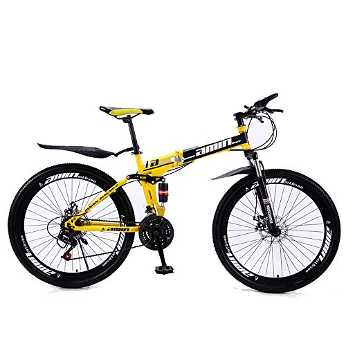 Mountain Bikes 21/24/27 Speed Folding Bike for adults 26 Inches 3/6/10-Spoke Wheels MTB Dual Suspension Bicycle (A,27 Speed)