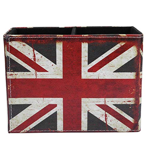 Caja de almacenamiento de escritorio, portalápices de cuero hecho a mano, material de cuero impermeable para el tocador del dormitorio Mesa de té Cafetería(2241-01 Rice Flag)
