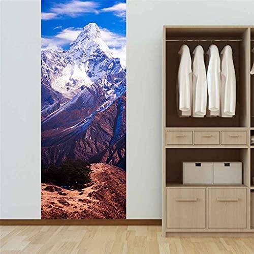 RGAHOT Arte de puerta 3D 88x205cm Paisaje de montaña de nieve blanca Pegatinas de puerta PVC Adhesivo Murales Vinilos Decorativos para Guardería Niños Dormitorio Puerta Pared Cocina Sala de Baño