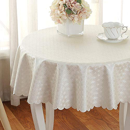 QKEMM Mantel para Mesa de Cocina o Salon Hojas Rectangular PVC Anti Escaldado Anti Aceite de Chile Impermeable Diseno de Comedor decoracion del Hogar Blanco Cremoso Diametro Redondo 160cm