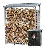 QUICK STAR Aluminio Chimenea Madera Estante 130 x 70 x 185 cm Jardín Prinidor Refugio de 1,6 m³ de Madera Almacenamiento apilables Ayuda Exterior con protección contra el Clima Negro