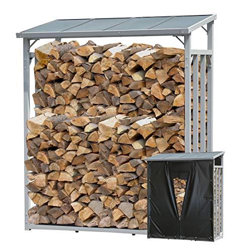 QUICK STAR Aluminium Kaminholzregal 130 x 70 x 185 cm mit Wetterschutz Garten Kaminholzunterstand 1,6 m³ Kaminholzlager Stapelhilfe Aussen