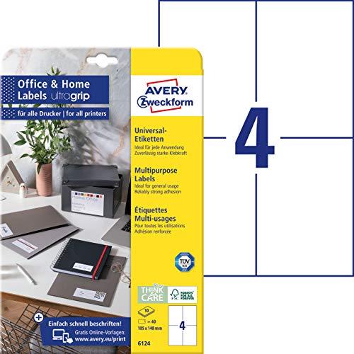 AVERY Zweckform 6124 Universal Etiketten (40 Klebeetiketten, 105x148 mm auf A4, bedruckbare Adressaufkleber, selbstklebende Versandetiketten mit ultragrip, ideal fürs HomeOffice) 10 Blatt, weiß