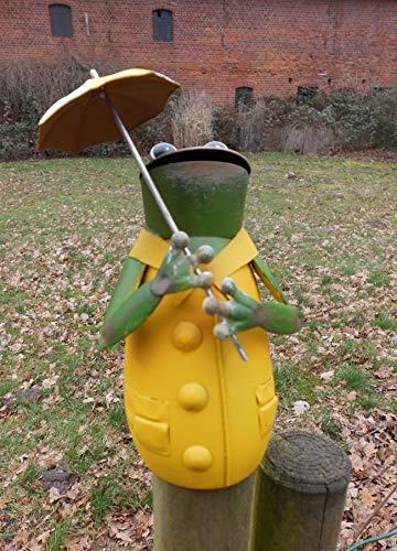 Deko-Impression Zaunfigur Zaunhocker Gartendeko witziger Frosch m. Schirm gelb 19 cm