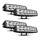 UNI FILTER DOT Approved 4Pcs 6' 18W Led Spot Work Single Row Light Bar Offroad Driving Fog Light for Off-road...