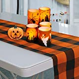 Volcanics Buffalo Check Plaid Table Runner for Halloween Indoor and Outdoor Parties Family Dinners or Gatherings 14'x108' Seats 8-10 People Orange and Black