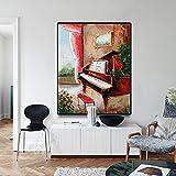 Pintura decorativa Lienzo pintura música Piano carteles e impresiones arte moderno pintura imagen decoración de pared músico regalos decoración de sala de estar 60x80cm