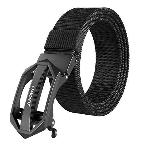 JUKMO Ratchet Belt for Men, Nylon Web Tactical Gun Belt with Automatic Slide Buckle (A-Black, Large)